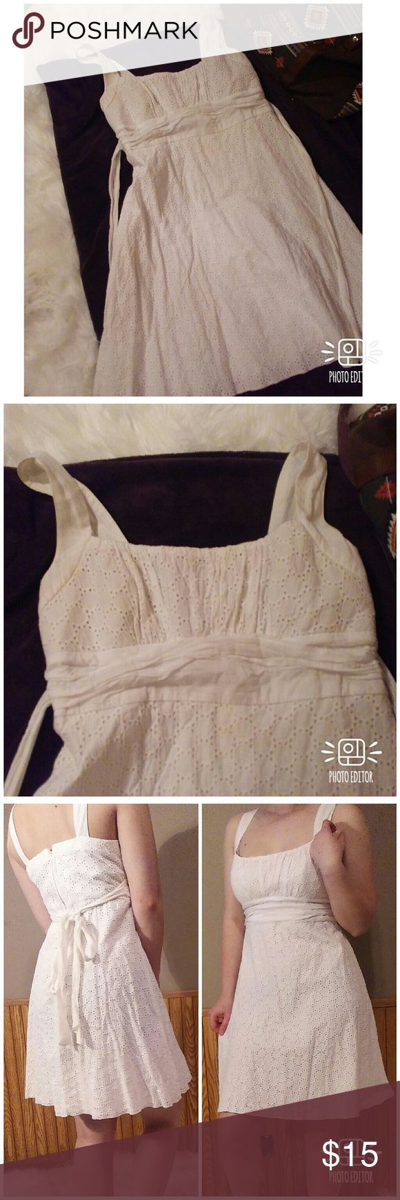 White Crochet Dress White dress with a circle crochet pattern. Ribbon tie in the back. B. Smart Dresses