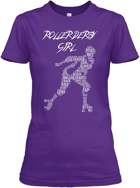 Roller Derby Girl   Word Art T Shirt Purple Women's T-Shirt Front
