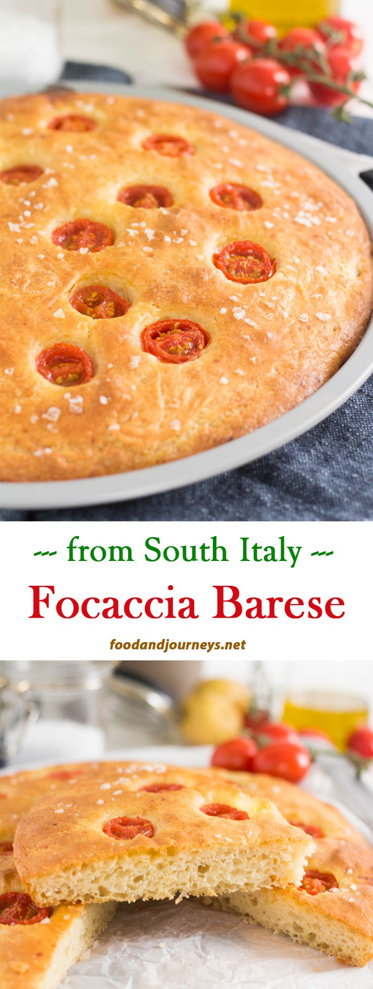 Italian | Bread | Cherry Tomatoes | Barese. This traditional focaccia from the South of Italy contains semolina and mashed potato.  The result is a golden, crunchy bread that tastes like pizza.  You don't need any other appetizer once you have this on the table!  #italianrecipes #bread #focaccia #appetizer