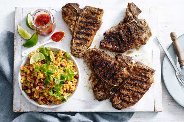 Steak is grilled to perfection and served with spicy rice. Easy to make, this meal is perfect as a midweek dinner recipe.