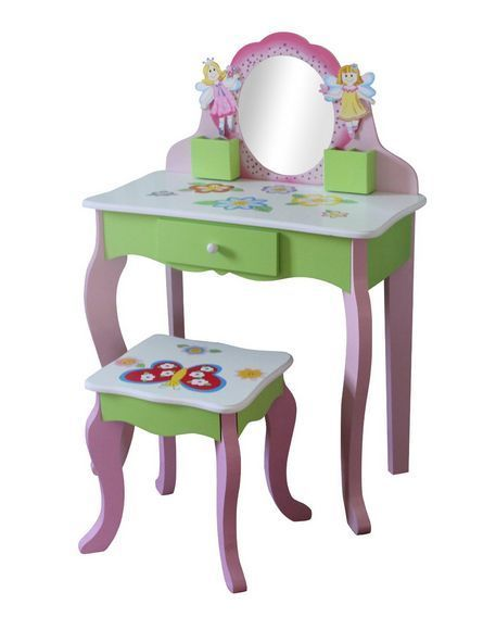 DRESSING TABLE & STOOL GIRLS FAIRY DRAWER PINK BUTTERFLY CHILDREN FURNITURE KIDS