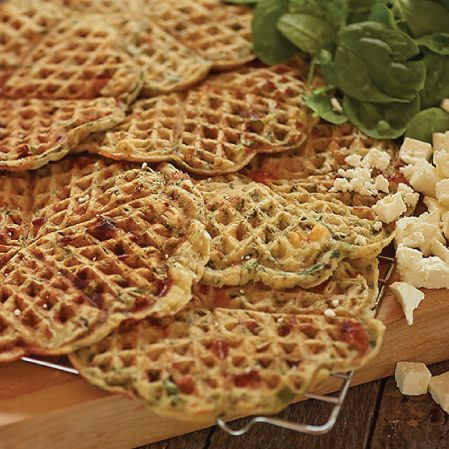 spinach-and-feta-waffles - yum with sausage