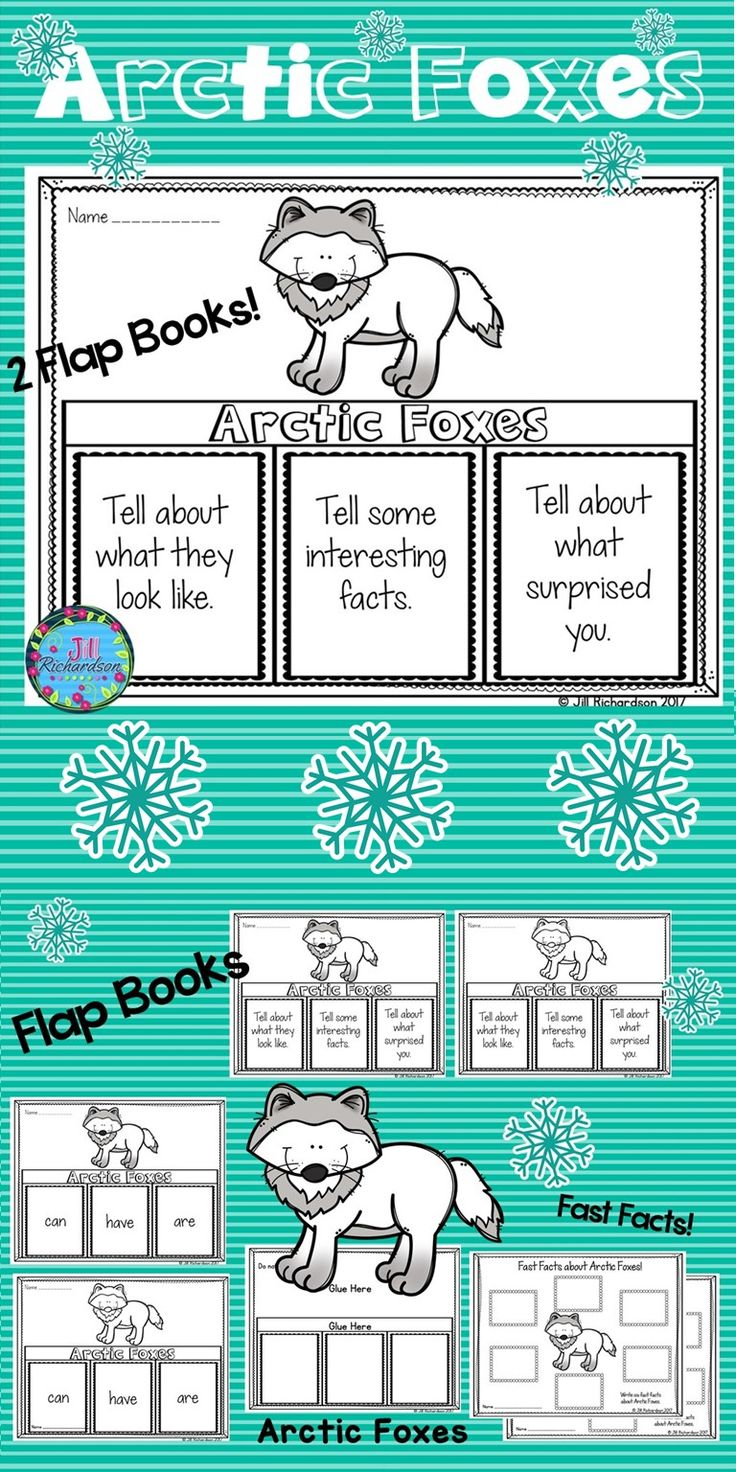 Your students will love researching Arctic Foxes! This product includes three ways for your children to share what they have learned about Arctic Foxes in writing. Take a look at the preview! 2 Flap books (color and black and white) Arctic Foxes: can, have are Arctic Foxes: Tell about what they look like, Tell some interesting facts, Tell about what surprised you. Arctic Foxes Fast Facts (color and black and white)