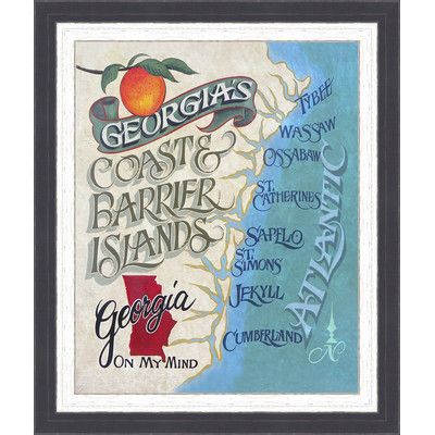 Ashton Wall Décor LLC Coastal \'Georgia Coast Beach Map\' Framed ...