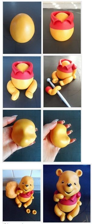 Créez winnie l'ourson en pâte polymère.....would be cute to make with polymer clay or fondant! | Cakes | Pinterest | Winnie The Pooh, Fondant and Polymer Clay