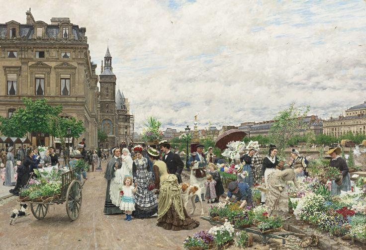 Marie-François Firmin-Girard - Le Quai aux Fleurs [1875] | Flickr - Photo Sharing!