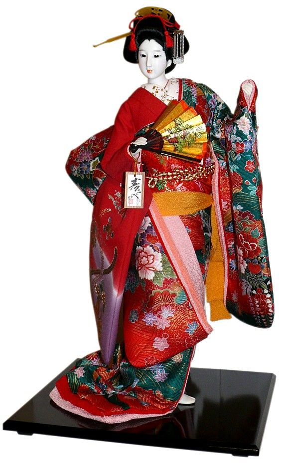 Japanese traditional interior doll with fan, 1970. Japanese Kimono Dolls Catalogue. Japanese Art online shop. The Black Samurai Online Shop.