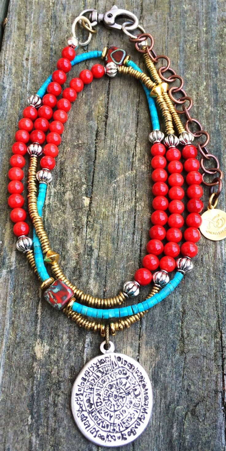 Phaistos Disc Necklace: Long Bohemian Style Red Coral, Turquoise and Silver Medallion Necklace $150
