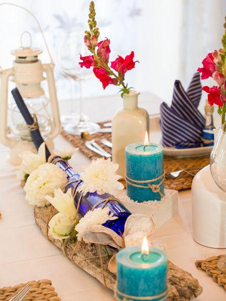 """Tischdeko """"Blue Summer"""" - Komplett-Set Hochzeit von Sweet-Table-Art auf DaWanda.com"""