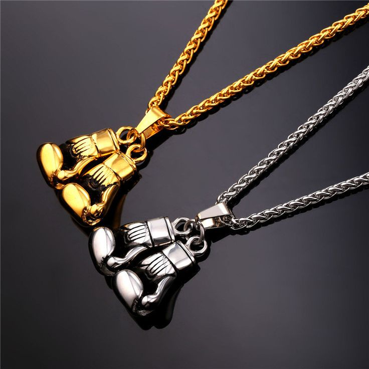 Golden Glove Boxing Pendant Charm Necklace Sport Jewelry Stainless Steel Yellow Gold Plated Chain