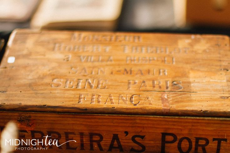 Vintage wooden box from a french market