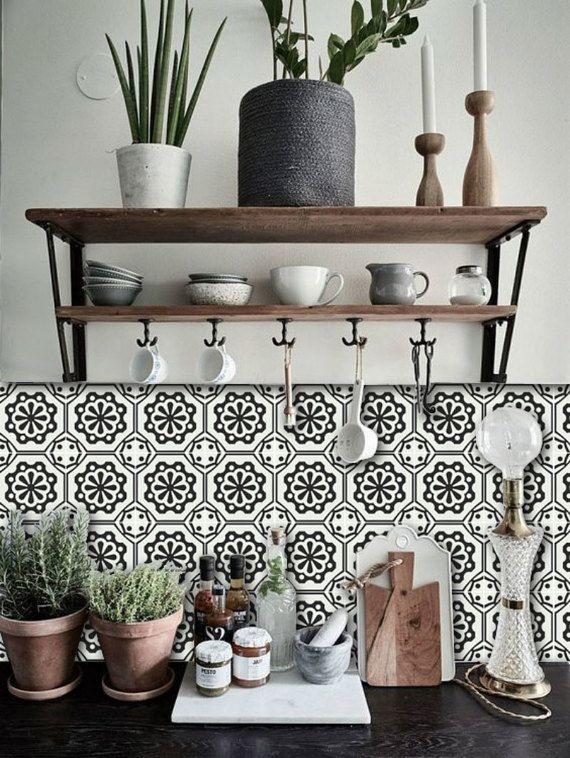 Tile Decals - Tiles for Kitchen/Bathroom Back splash - Floor decals - Testino Vinyl Tile Sticker Pack color Black