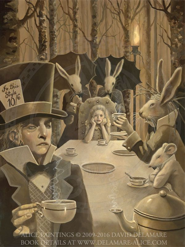 The Tea Party - an Alice in Wonderland painting by David Delamare