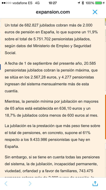 Cuantos jubilados cobran pension maxima España 2016