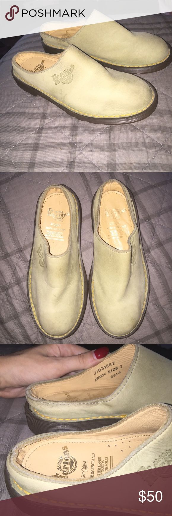 Olive green Dr Marten slip ons shoes very cute and vintage Doc Martens go cute with any casual 90s outfit Dr. Martens Shoes