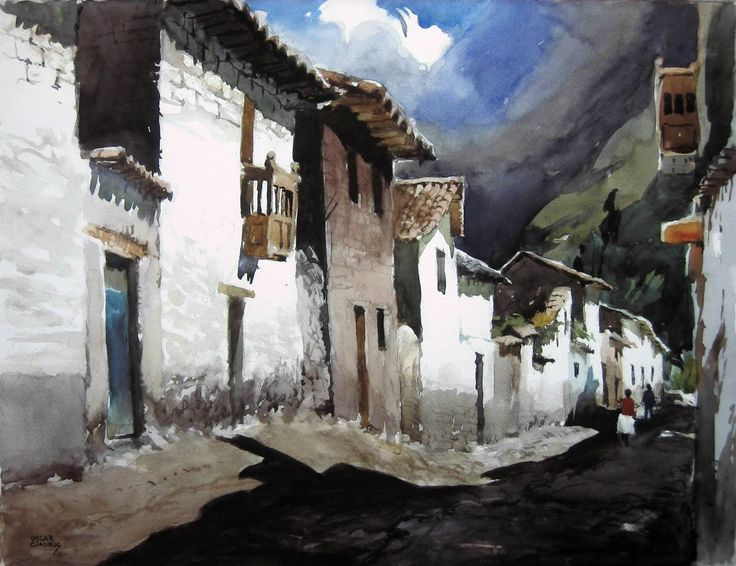 peruvian art | Oscar Cuadros – Watercolors come from Peru | Watercolors Painting