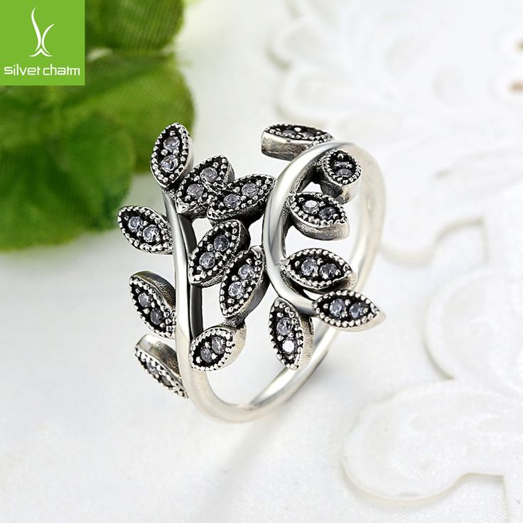 6 925 sterling Silver Leaf Rings With Crystal Compatible With European Fit Original Engagement Ring Jewelry Present