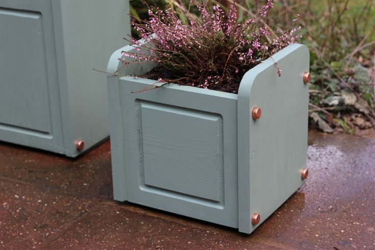 Small Wood Planter with Copper Detailing by InWoodCraft on Etsy