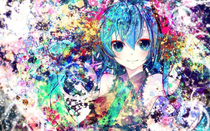 Download imagens Hatsune Miku, arte, retrato, personagens de anime, Vocaloid