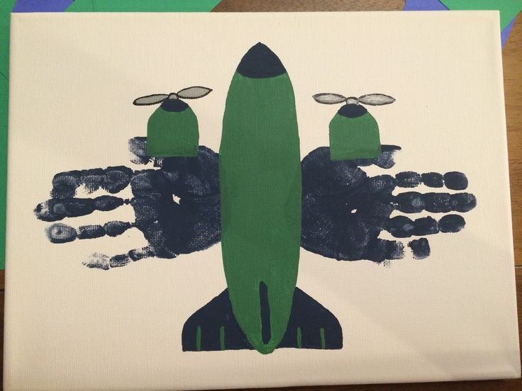 Handprint airplane- boys room