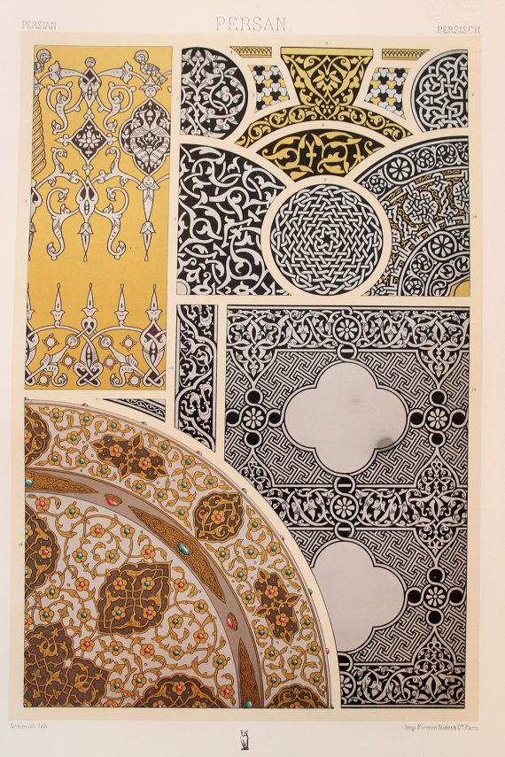 Persian Asian Decorative Ornament (Engraved Gold, Silver & Copper with Precious Stones, etc) - Stunning 1880's Polychrome by Racinet.