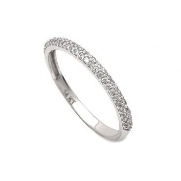 Μοντέρνο γυναικείο μισόβερο λεπτό δαχτυλίδι λευκόχρυσο Κ14 με 2 σειρές από λευκές πέτρες ζίργκον στο πάνω μέρος | Δαχτυλίδια ΤΣΑΛΔΑΡΗΣ στο Χαλάνδρι #σειρέ #μισοβερο #ζιργκον #λευκοχρυσο #δαχτυλίδι