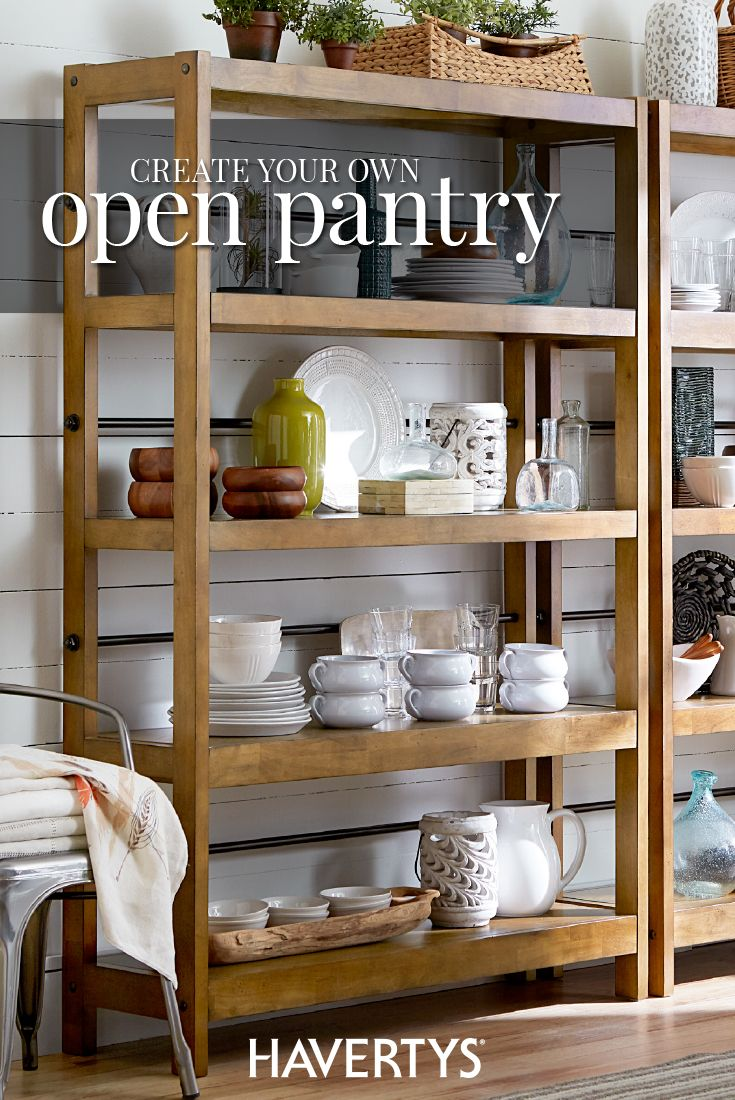 Take the farmhouse trend to the next level with an open concept pantry. Display everything you love and enjoy a more functional dining room or kitchen. Fill each shelf with your favorite plates, decorative pieces and more for an airy, stylish space that simplifies home organization.