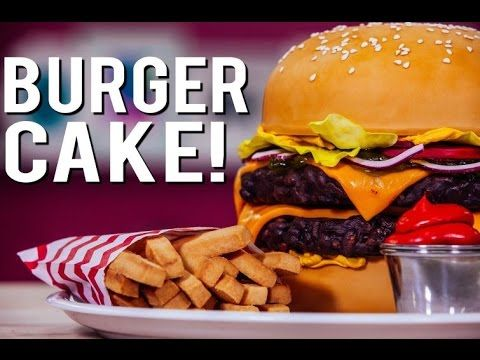 How To Make A CHEESEBURGER CAKE! With Chocolate Patties, Buttercream Mustard, and Candy Relish! - YouTube