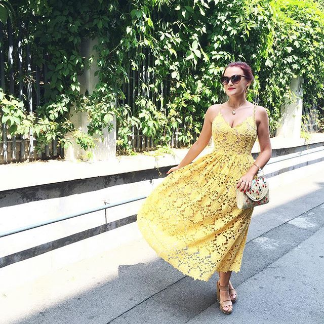 Yellow! I absolutely love the color and the lace fabric on this dress! #ootd #outfit #hm