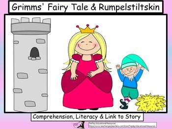 Review literacy concepts the fun way! In Grimms' Fairy Tale, Rumpelstiltskin: Comprehension and Literacy,  learners answer 30 questions pertaining to the story by Brothers Grimm (with link included to the printable original Rumpelstiltskin story).These task cards can be used as a class game, in cooperative  groups or at a center.