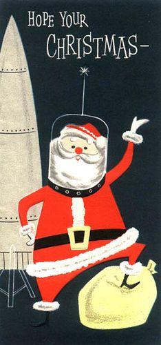 Vintage Santa Christmas Card: