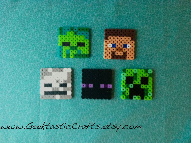 Perler Bead Minecraft Mob Set  Steve  Skeleton  Creeper