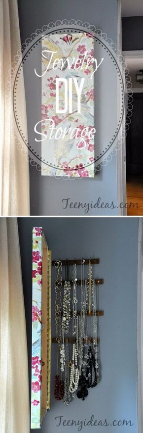 DIY Wall Canvas with Hidden Jewelry Storage. This DIY wall canvas with hidden…