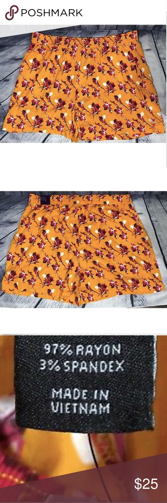 Lane Bryant Orange Pink Stretchy Shorts Elastic Lane Bryant Women's Orange Pink Stretchy Shorts Elastic Waist  Brand New With Tags Lane Bryant Shorts