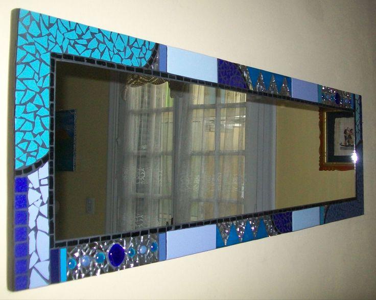 Azulejos Rectangulares Baño:Espejo rectangular con azulejo , venecitas y vidrio 38 x120