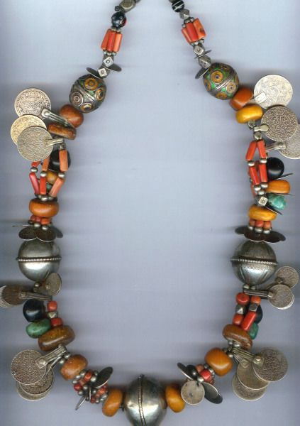 """Morocco   Necklace having coral, amber, amazonite and enameled """"egg beads"""" and coins Tiznit Morocco     © Linda Pastorino"""