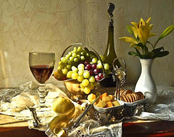 Wine, Grapes, Cheese and Lilies - still  life art print.