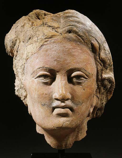 A Gandhara terracotta male head, 4th-5th century