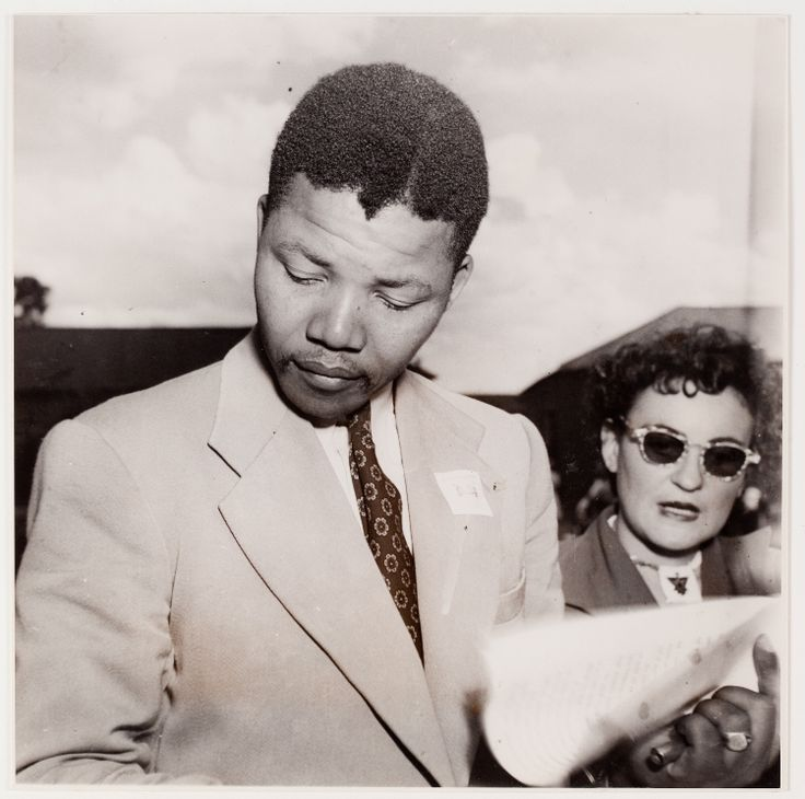 Nelson Mandela with Ruth First at the ANC Congress, Bloemfontein, South Africa, December 1951 by Jürgen Schadeberg.