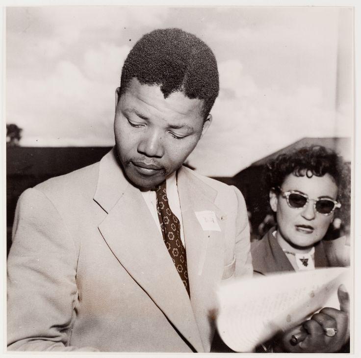 Nelson Mandela with Ruth First at the ANC Congress, Bloemfontein, South Africa, December 1951 by Jürgen Schadeberg.