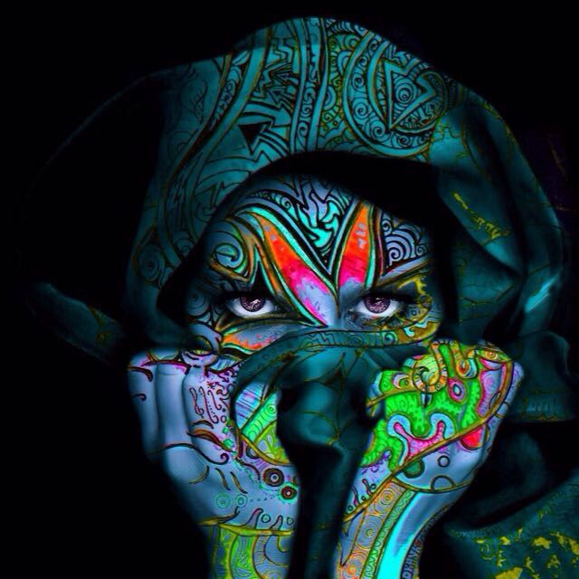 psychedelic face artwork groovy dark lonely tribal
