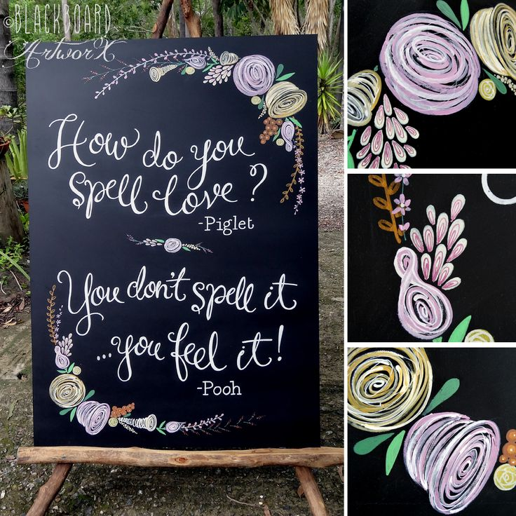 Piglet and Pooh quote wedding blackboard, decorated with scribble flowers. wedding chalkboard. wedding sign