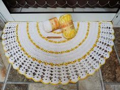 CROCHE COM RECEITA: Tapete em croche barroco fast meia-lua