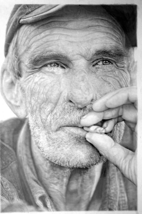 Paul Cadden-drawing with graphite and chalk