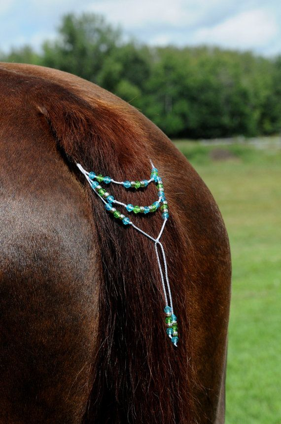 Gorgeous Tail Beads for Horses! Bling Tack, Arabian, AQHA, Friesian, etc. TURQUOISE & Neon GREEN **New**
