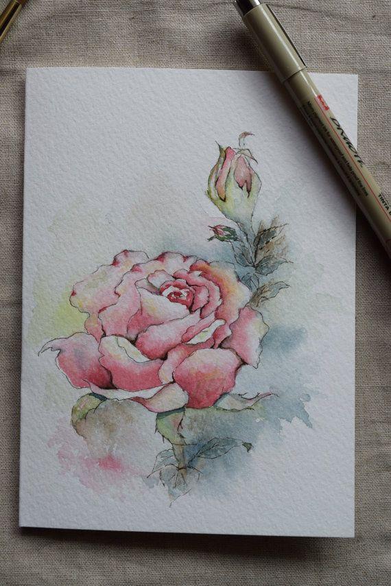 Rosa rosa acuarela pintada tarjeta  Original o por SunsetPeonies