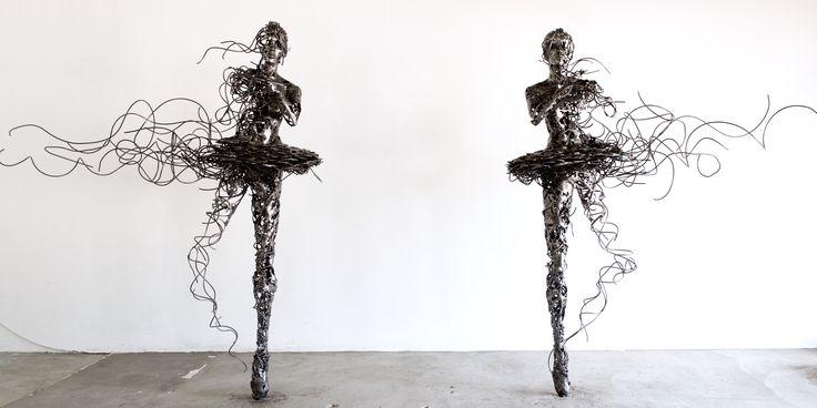 """""""Unravel"""" Steel ballerina sculpture by Regardt van der Meulen"""