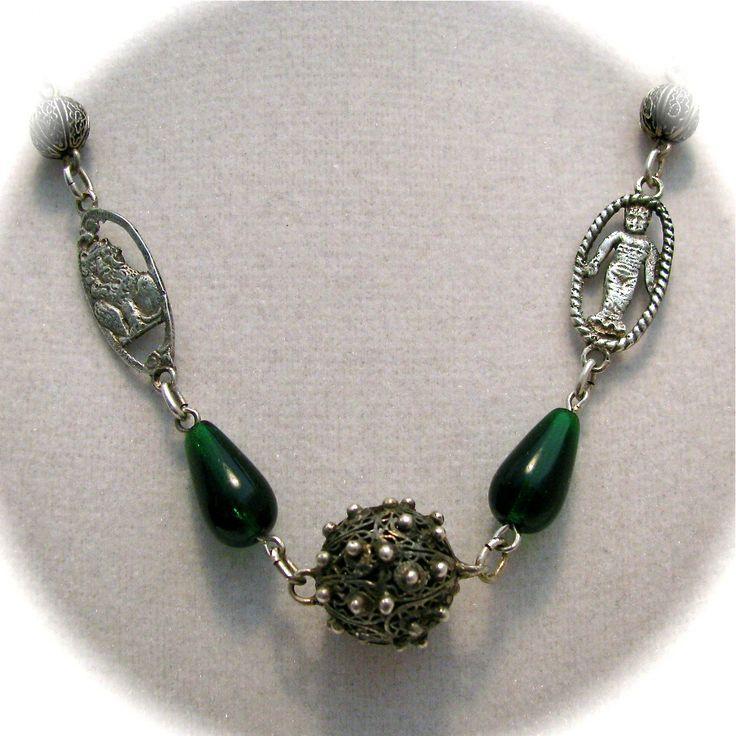 Vintage Peruzzi Florentine Necklace Infant Biblical Symbol Fleur De Lis Lions Emerald Green Silver Filigree Beads Necklace by StepInTime on Etsy