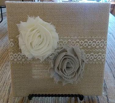 6x6 Natural Burlap Canvas with small flowers on Etsy, $15.00