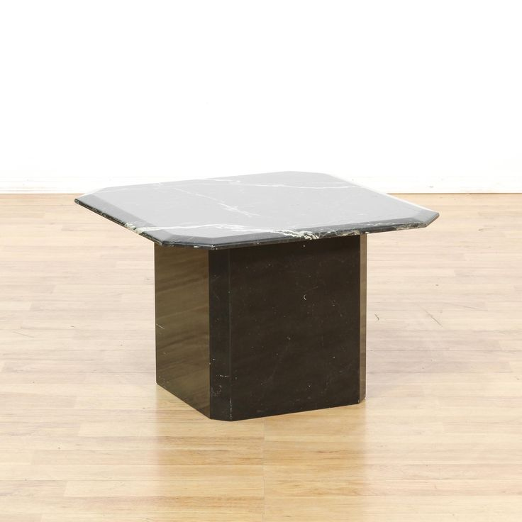 This Contemporary End Table Is Featured In A Durable Marble With A Polished  Black Finish. This Side Table Has Beveled Edges With A Solid Base And White  ...